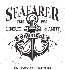 Sailor vintage label, emblem or print in monochrome style vector illustration with anchor, rope and ribbon for text