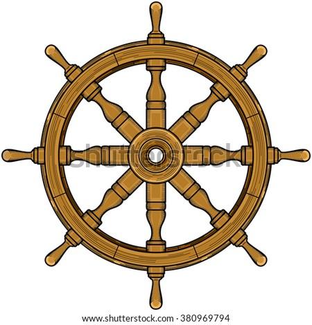 Sailor Wheel Steering Wheel Brown Color Stock Vector Royalty Free