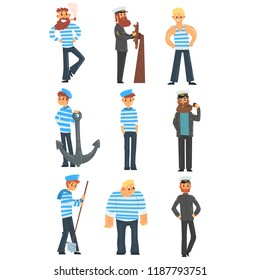 Sailors and captains doing their job, seamen characters in uniform vector Illustration on a white background