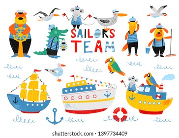 Sailors team. Nautical hand drawn vector illustration for kids. Cute ships, boats and funny animals sailors. Cartoon flat marine background. Pencil texture. Childish drawing. Summer bright card.