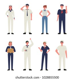 Sailors in uniform. hand drawing style vector illustration flat design