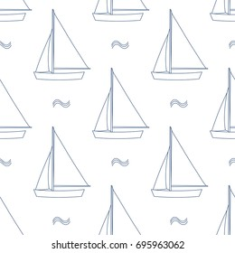 Sails in blue outline and white plane style on white background. Seamless pattern vector illustration.