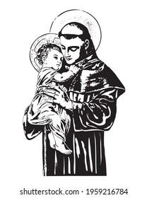 Saint Anthony with Baby Jesus Illustration Catholic religious vector