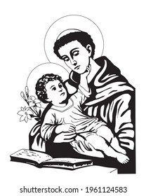 Saint Anthony with Child Jesus Illustration Catholic religious vector