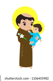 Saint Anthony with child Jesus vector