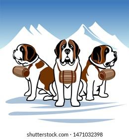 Saint Bernard - Dogs. Alpine rescue service flat vector illustration. Brave mountain rescuers.