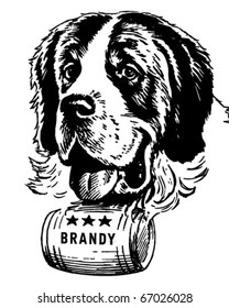 Saint Bernard - Retro Clipart Illustration