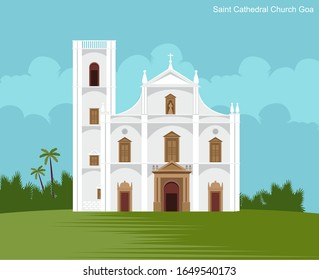 saint cathedral church in goa vector illustration