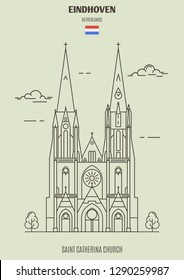Saint Catherina Church in Eindhoven, Netherlands. Landmark icon in linear style