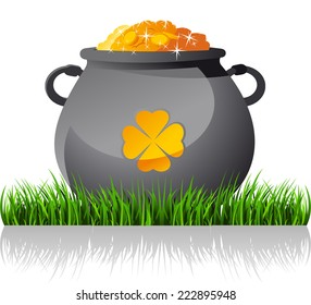 Saint patrick�´s Day cartoon elf gold coin pot illustration