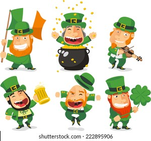 Saint patrick´s Day cartoon leprechaun illustration collection