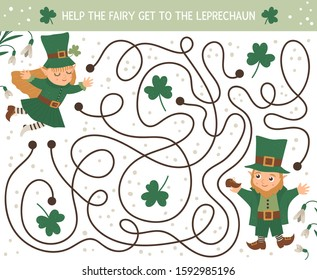 Saint Patrick's Day maze for children. Preschool Irish holiday activity. Spring puzzle game with cute elf and fairy. Help the fairy get to the leprechaun