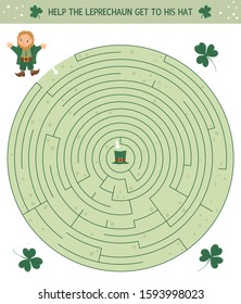 Saint Patrick's Day maze for children. Preschool Irish holiday activity. Spring puzzle game with cute elf and shamrock. Help the leprechaun get to his hat