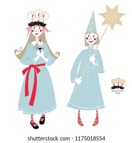 Saint Lucy's Day. St. Lucia procession. Scandinavian Christmas tradition. Vector illustration