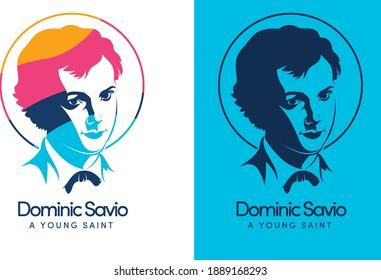 Saint Dominic Savio, A youth Catholic Saint of Saint John Bosco Vector and Logo