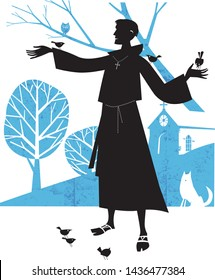 Saint Francis of Assisi and birds vector illustration