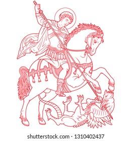 Saint George on horse slaying a dragon vector illustration