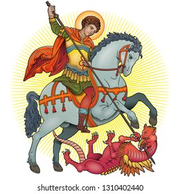 Saint George on horse slaying a dragon vector illustration