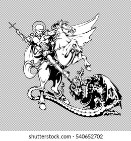 Saint George on horseback with spear slaying the dragon. Vector illustration