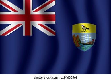 Saint Helena flag background with cloth texture. Saint Helena Flag vector illustration eps10.