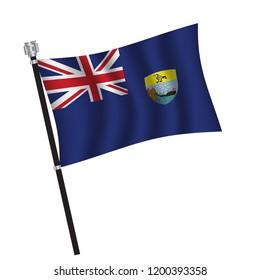 Saint Helena flag , flag of Saint Helena waving on flag pole, vector illustration EPS 10.