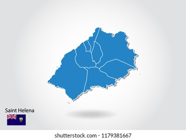 Saint Helena map design with 3D style. Blue Saint Helena map and National flag. Simple vector map with contour, shape, outline, on white.