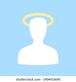 Saint and holy person has gloriole, aureole and halo above head. Religious and spiritual sign of holiness. Vector illustration