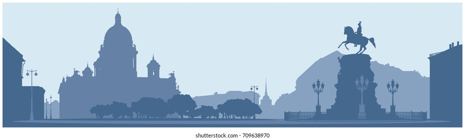 Saint Isaac's Square in Saint Petersburg, Russian Landmark vector illustration, Saint Isaac's Cathedral, Emperor Nicholas I monument, Admiralty and Astoria hotel, white night silhouettes series