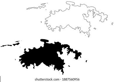 Saint John District, United States Virgin Islands (U.S. county, United States of America, USA, U.S., US) map vector illustration, scribble sketch St. John Island map