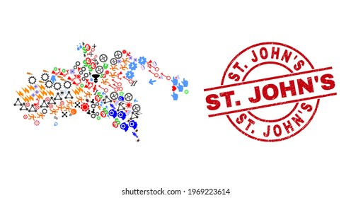 Saint John Island map mosaic and scratched St. John'S red circle badge. St. John'S badge uses vector lines and arcs. Saint John Island map collage contains helmets, houses, showers, bugs, hands,