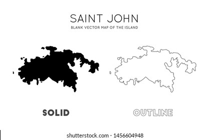 Saint John map. Blank vector map of the Island. Borders of Saint John for your infographic. Vector illustration.