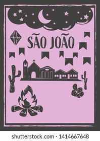 Saint John Sao Joao party background vector with copy space. Brazilian woodcut style illustration.