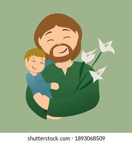 Saint Joseph and Baby Jesus Vector Illustration