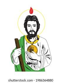 Saint Jude Thaddeus apostle of Jesus Illustration Catholic religious vector