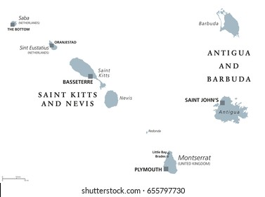 Saint Kitts And Nevis, Antigua And Barbuda, Montserrat, Saba and Sint Eustatius political map.Caribbean islands and parts of the Lesser Antilles. Gray illustration over white. English labeling. Vector