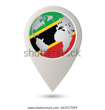 Saint Kitts Nevis Flag Location Map Stock Vector (Royalty Free ...