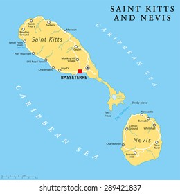 Saint Kitts and Nevis political map with capital Basseterre is a two-island country in the West Indies, located in the Leeward Islands. English labeling and scaling. Illustration.