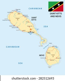 saint kitts and nevis road map with flag