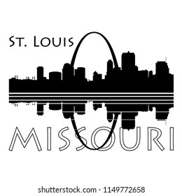 Saint Louis City skyline, Black and white with river reflection and type - Vector