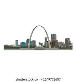 Saint Louis City skyline, color - Vector