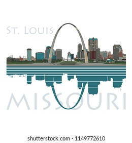 Saint Louis City skyline, color with river reflection and type - Vector