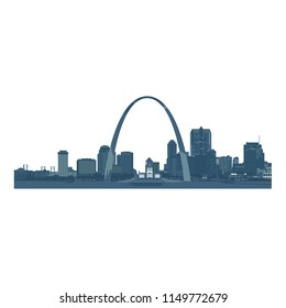 Saint Louis City skyline, monochromatic - Vector