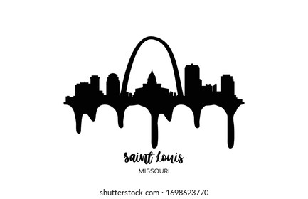 Saint Louis Missouri black skyline silhouette vector illustration on white background with dripping ink effect.