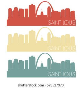 Saint Louis Skyline Silhouette City Famous Vector Vintage Color Set Design