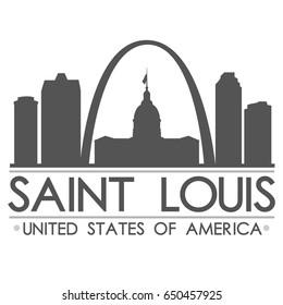 Saint Louis Skyline Silhouette Design City Vector Art