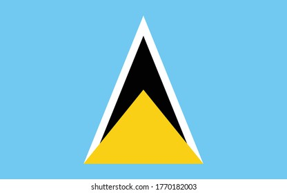 Saint Lucia flag vector graphic. Rectangle Saint Lucian flag illustration. Saint Lucia country flag is a symbol of freedom, patriotism and independence.