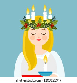Saint Lucia with floral wreath and candle crown, Swedish Christmas tradition, vector illustration.
