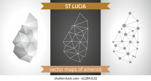 Saint Lucia graphic vector maps of Saint Lucia, polygonal, grey, mosaic, triangle illustrations