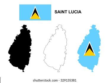 Saint Lucia map vector, Saint Lucia flag vector, isolated Saint Lucia