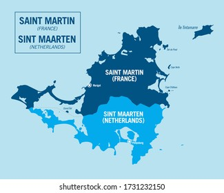 Saint Martin island, France. Sint Maarten island, Netherlands. Detailed political vector map with isolated regions, cities and islands.